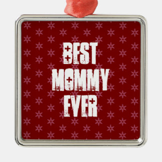 Best MOMMY Ever Red Stars Christmas Gift Set Metal Ornament