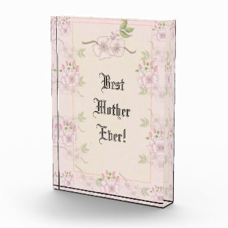Best Mother Ever Pink Flower Background Award