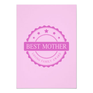 Best Mother - Loving Family Award - Pink Card