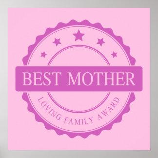 Best Mother - Loving Family Award - Pink Print