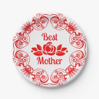 Best Mother-Red Rose And Floral Frame Paper Plate