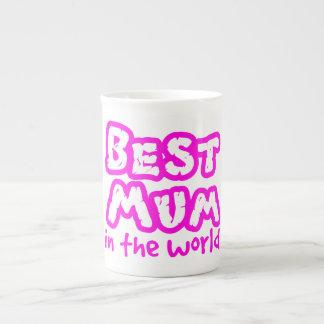 Best mum in the world pink text white china mug