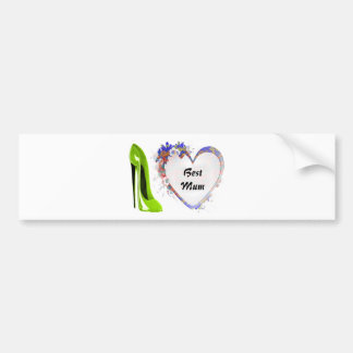 Best Mum Lime Green Stiletto Shoe and Floral Heart Bumper Sticker