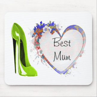 Best Mum Lime Green Stiletto Shoe and Floral Heart Mouse Pad
