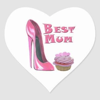 Best Mum Pink Stiletto Shoe and Cupcake with Heart Heart Sticker