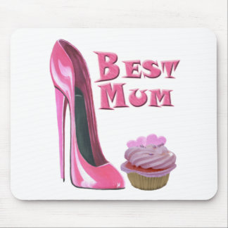 Best Mum Pink Stiletto Shoe and Cupcake with Heart Mouse Pad