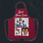 "Best Nana Ever Custom Photo Collage Template Apron<br><div class=""desc"">A great grandmother gift. Let her know she's the best and include three family photos that she will treasure and love showing off. Change the text and the photos in just a few minutes. Super thoughtful for her birthday or a Christmas gift.</div>"