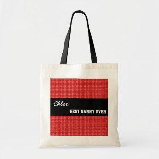 Best Nanny Ever Custom Name Red Squares 005 Tote Bag