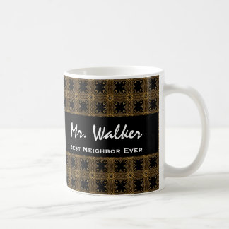 Best NEIGHBOR Ever Gold Black Squares and Stars Coffee Mug