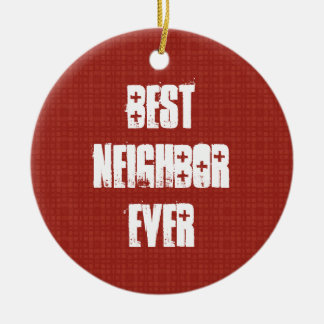 Best NEIGHBOR Ever Red and White Gift Idea Christmas Ornaments