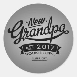 Best New Grandpa 2017 Classic Round Sticker