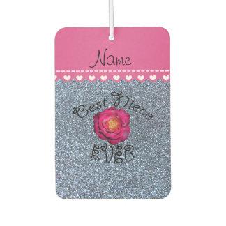 Best niece ever pink rose pastel blue glitter air freshener