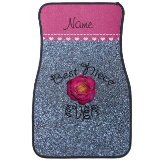 Best niece ever pink rose pastel blue glitter car mat