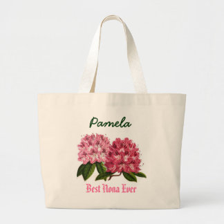 Best Nona Ever Custom Name  Rhododendron Large Tote Bag