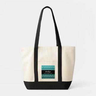 Best NURSE Ever Aqua White Black Chevron Tote Bag