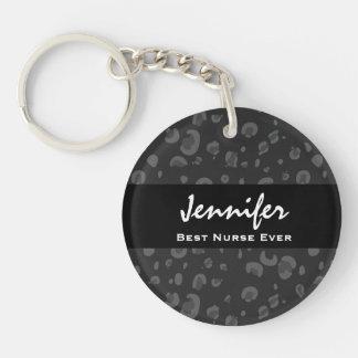 Best Nurse Ever Custom Name Black Leopard Gift Acrylic Keychains
