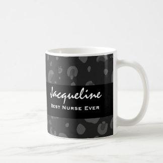 Best Nurse Ever Custom Name Black Leopard Gift Classic White Coffee Mug