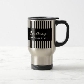 Best Nurse Ever Custom Name Black Stripes Gift V01 15 Oz Stainless Steel Travel Mug