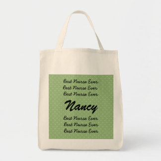 Best Nurse Ever Custom Name Green Polka Dots Canvas Bags