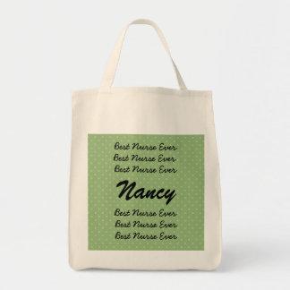 Best Nurse Ever Custom Name Green Polka Dots Canvas Bags