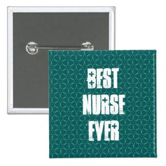 Best Nurse Ever Modern Green Star Pattern 2 Inch Square Button