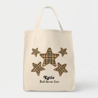 Best NURSE Ever PLAID STARS 55 Tote Bag