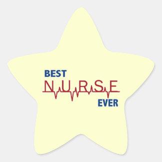 Best Nurse Ever Star Sticker