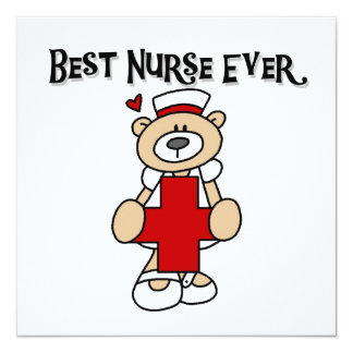 """Best Nurse Ever Tshirts and Gifts 5.25"""" Square Invitation Card"""