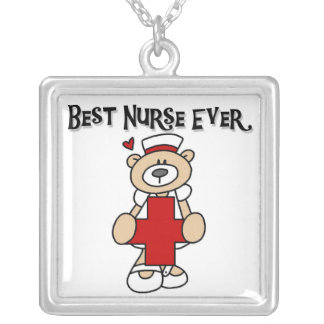 Best Nurse Ever Tshirts and Gifts Silver Plated Necklace