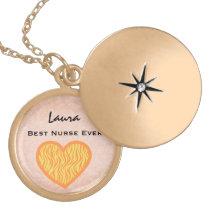 Best Nurse Ever Yellow Zebra Heart Custom Name V19 Gold Plated Necklace