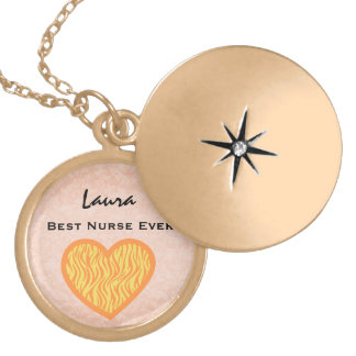 Best Nurse Ever Yellow Zebra Heart Custom Name V19 Gold Plated Necklace