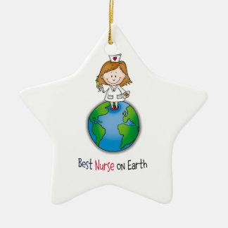 Best Nurse on Earth - Nurses Day - Nurses Week Ceramic Ornament