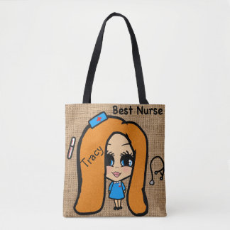 Best Nurse Tote - Personalized Caricature red head