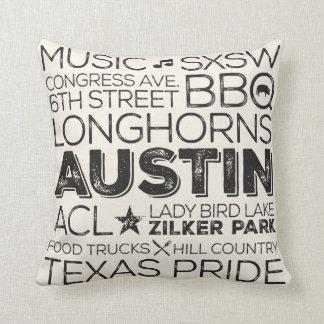 Best of Austin Texas Throw Pillow - Black