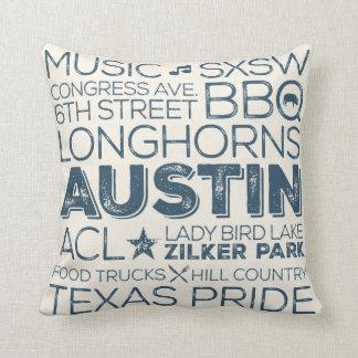 Best of Austin Texas Throw Pillow - Blue