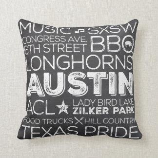 Best of Austin Texas Throw Pillow -Chalkboard