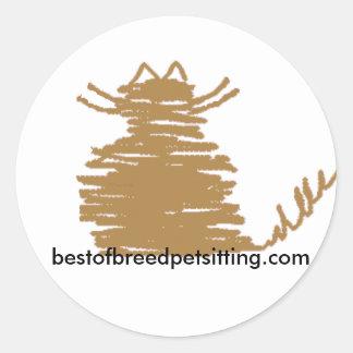 Best of Breed Pet Sitting Cat Classic Round Sticker