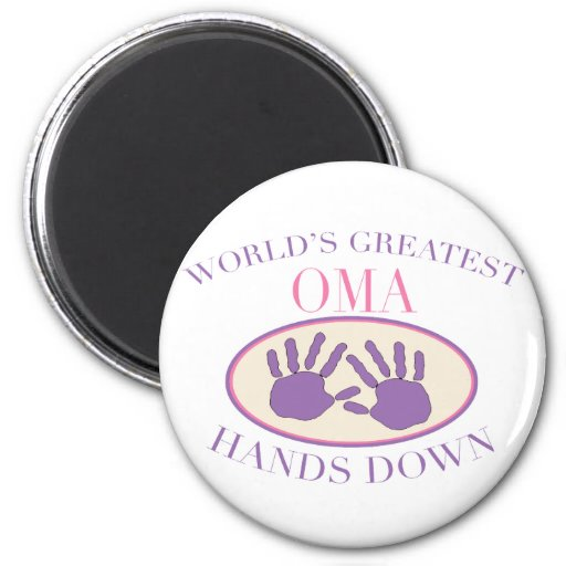 Best Oma Hands Down T-shirt 2 Inch Round Magnet
