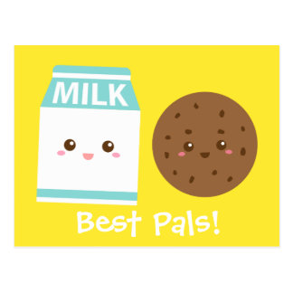 Best Pals, Cute Milk and Cookies Postcards