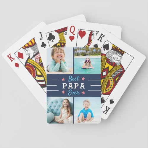 Best Papa Ever Grandfather Kids Photo Collage Playing Cards