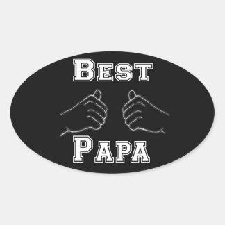 Best Papa Grandpa Hands Pawpaw Love Fathers Day Oval Sticker