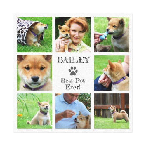 Best Pet Ever Your Family Pet Photo Collage Canvas Print
