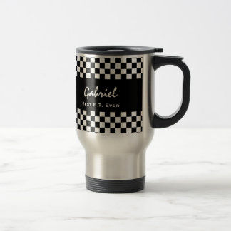 Best Physical Therapist Ever Black Checks V14 Travel Mug