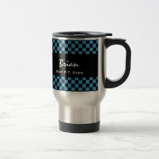 Best Physical Therapist Ever Blue Black Checks V11 15 Oz Stainless Steel Travel Mug