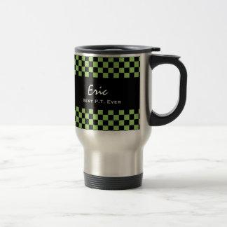 Best Physical Therapist Ever Green Black Check V13 15 Oz Stainless Steel Travel Mug