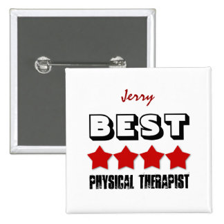 Best Physical Therapist with Stars RED V02 Pinback Button