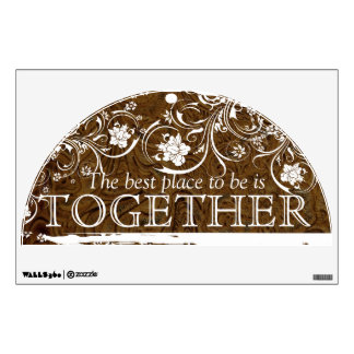 Best Place to be is Together Leather Lace Brown Wall Decal