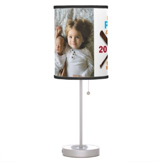 Best Pop Ever Father's Day Baseball 2 Photo Table Lamp