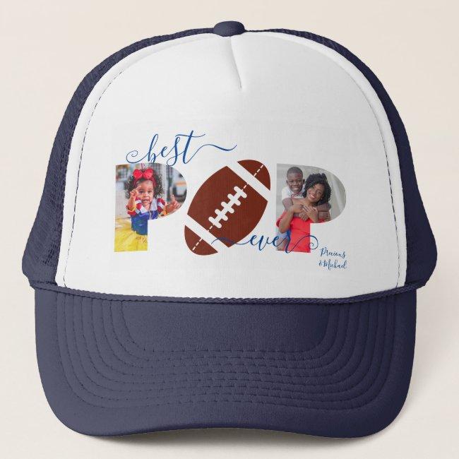 Best POP Ever Photo Collage Navy Blue Football Trucker Hat
