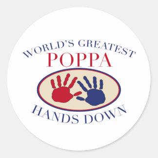 Best Poppa Hands Down Classic Round Sticker
